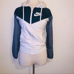 Blue white hooded windbreaker jacket xs nike